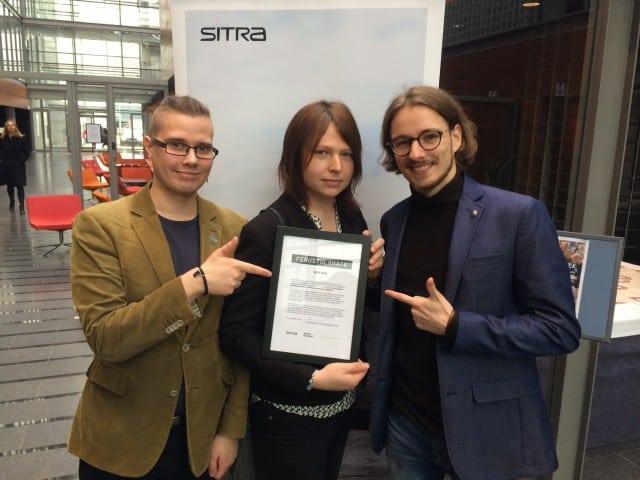 Yhdessä Lilja Tammisen ja Simo Raittilan kanssa voitimme ykkössijan Sitran Perustulohackissa työllämme Perustulon elinkustannuslisä.